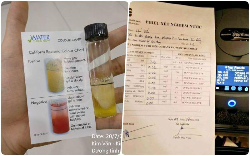 xét nghiệm nước trên Rada