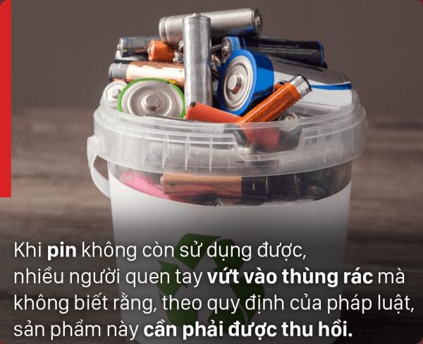 không nên vứt pin cũ vào thùng rác