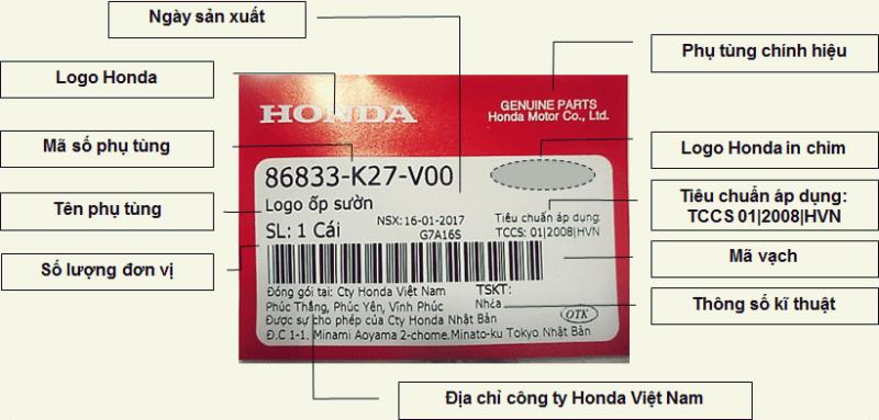Tem phụ tùng xe máy Honda