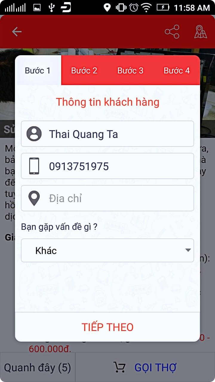 Màn hình đặt dịch vụ. Ứng dụng sẽ điền sẵn tên và số điện thoại của bạn cùng địa chỉ (nếu nó xác đinh được qua googlemap), bạn cần bổ sung thêm vấn đề, thời gian bạn cần sửa, mô tả chi tiết và hình ảnh (nếu có) sau đó gửi đến nhà cung cấp.