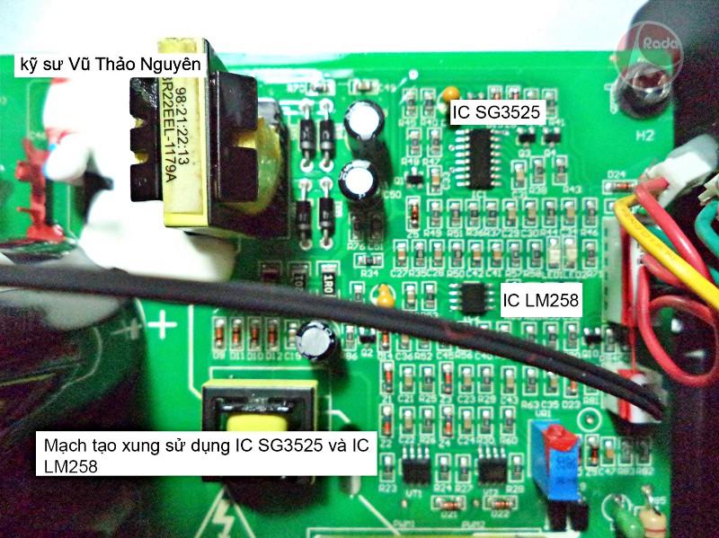 Máy hàn JASIC Ares 120 sử dụng 4 đi-ốt chỉnh lưu dòng hàn loại 25U20 cùng mạch tạo xung sử dụng IC SG3525 và IC LM258.