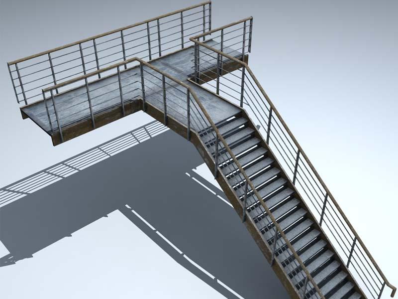Cầu thang thoát hiểm bên ngoài tòa nhà
