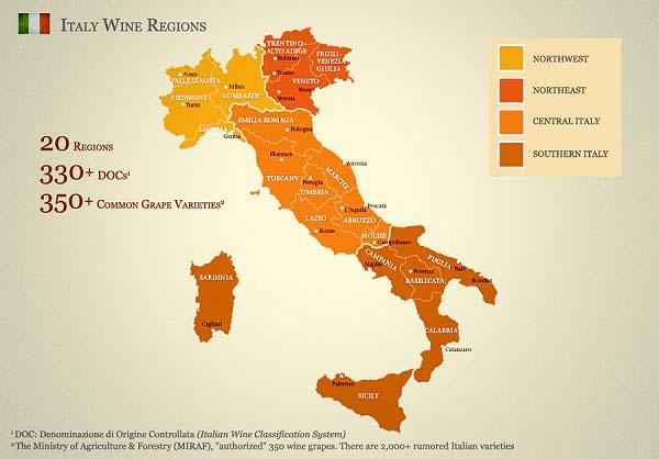 Bản đồ rượu vang Ý