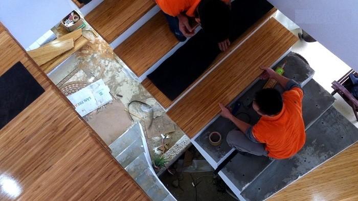 Hướng dẫn lắp đặt mặt bậc cầu thang gỗ - đo đối bậc